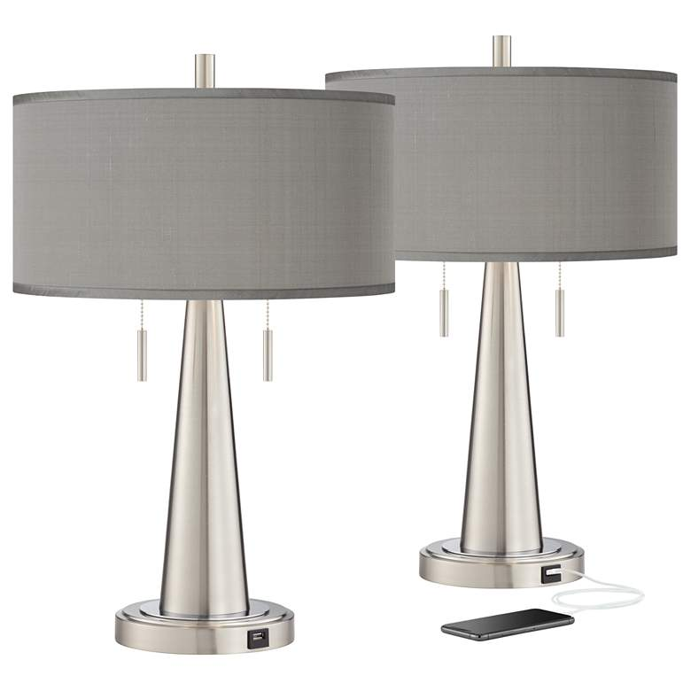 Gray Faux Silk Vicki Brushed Nickel USB Table Lamps Set of 2
