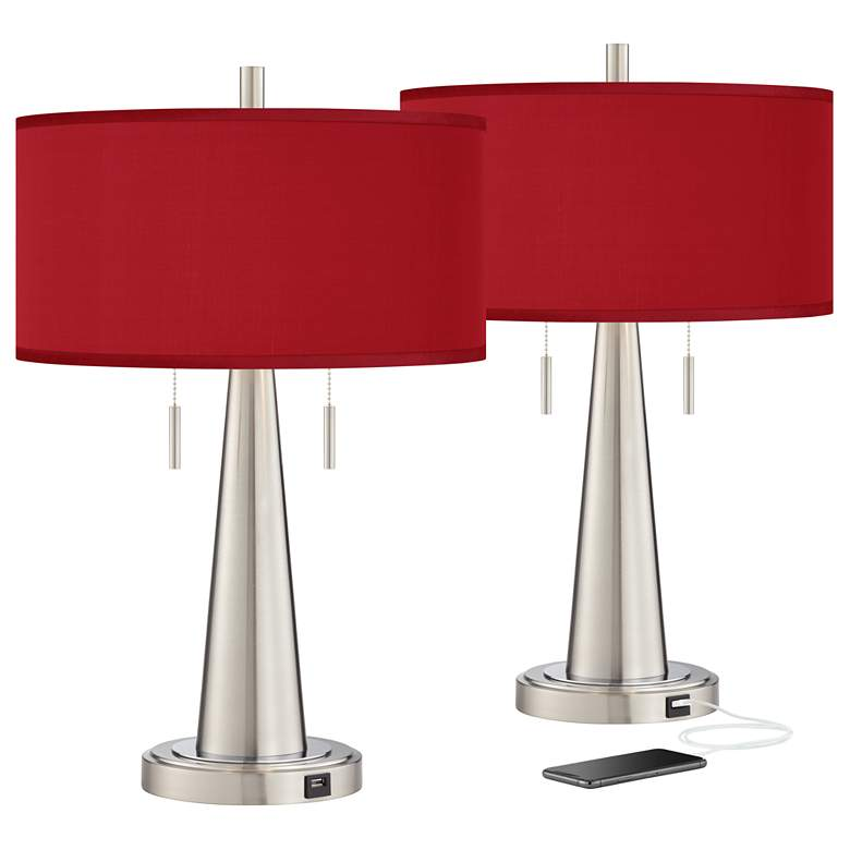 Red Faux Silk Vicki Brushed Nickel USB Table Lamps Set of 2