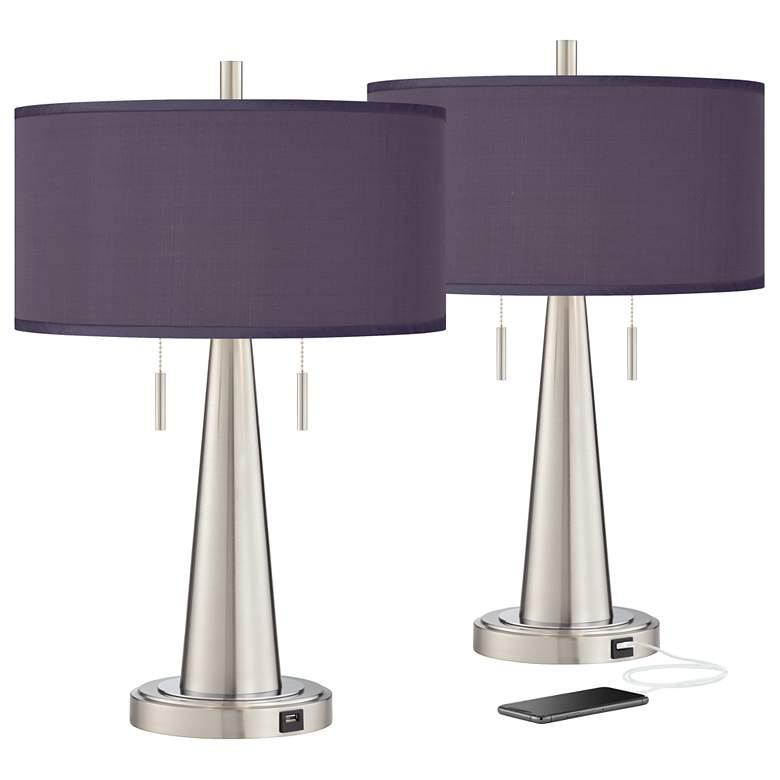 Eggplant Vicki Brushed Nickel USB Table Lamps Set