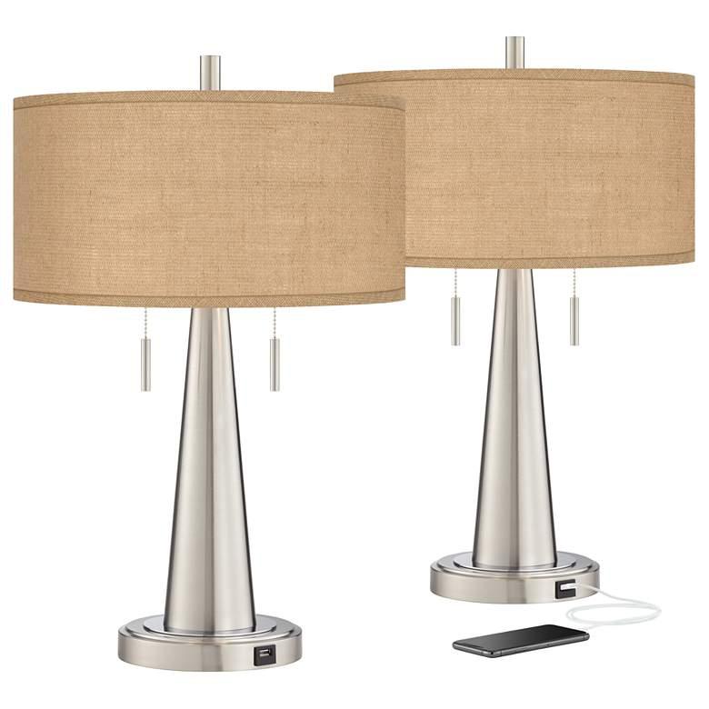 Burlap Shade Vicki Brushed Nickel USB Table Lamps