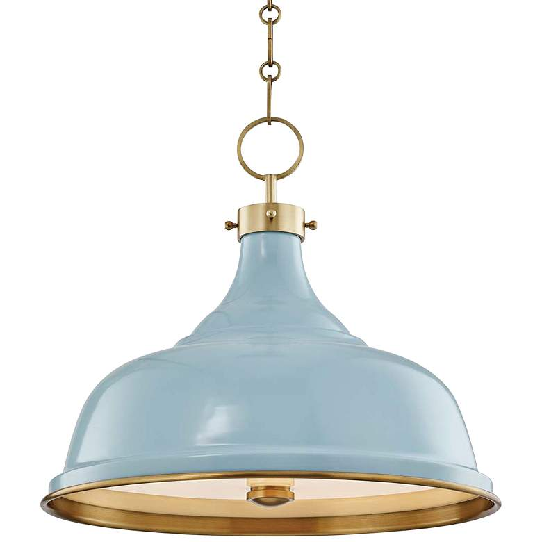 """Painted No.1 18""""W Aged Brass Pendant with Blue Bird Shade"""