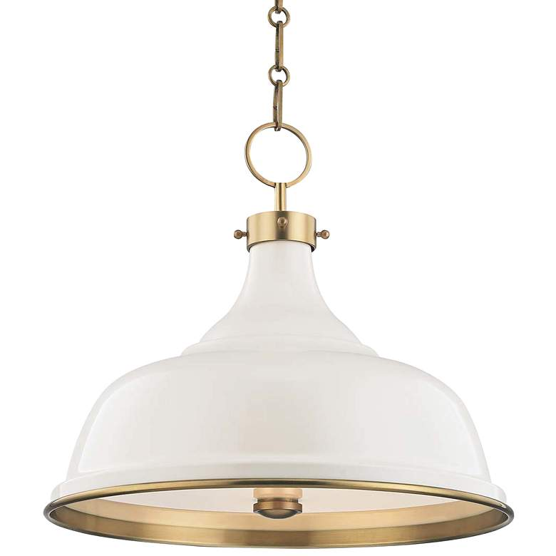 "Painted No.1 18""W Aged Brass Pendant with Off-White Shade"
