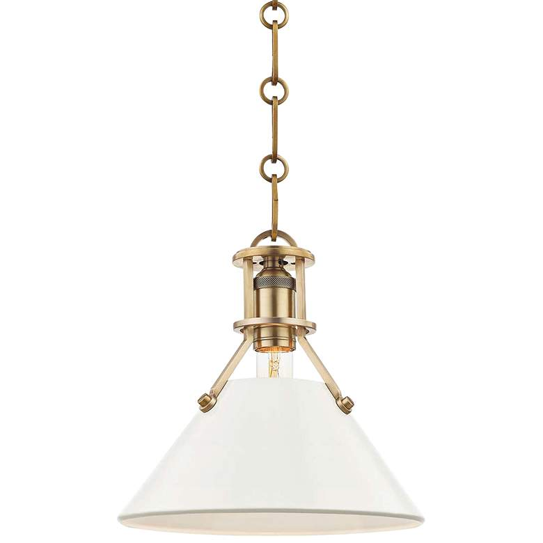 """Painted No.2 9 1/2""""W Brass Mini Pendant with Off-White Shade"""