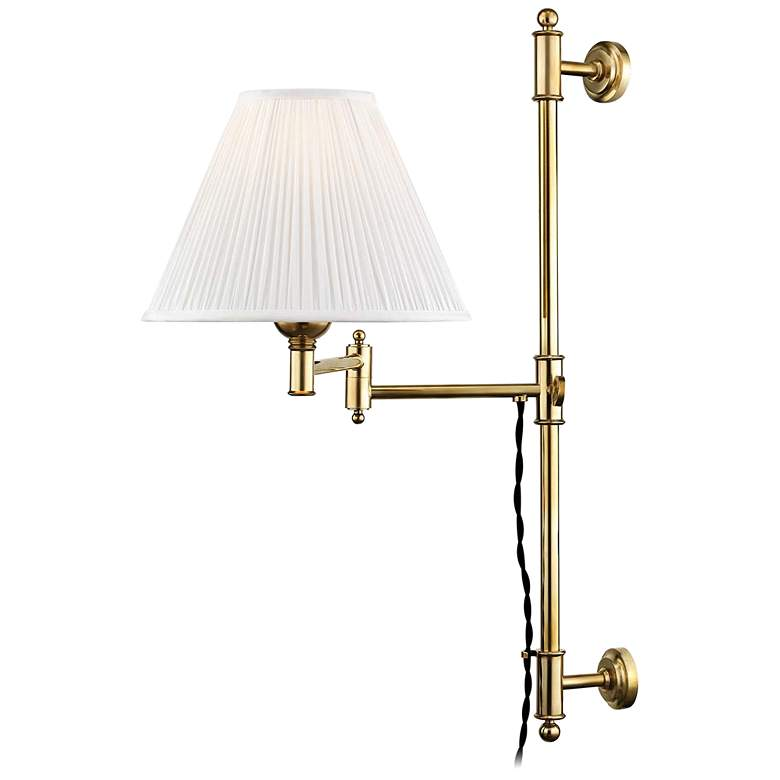 Classic No.1 Aged Brass Plug-In Swing Arm Wall Lamp