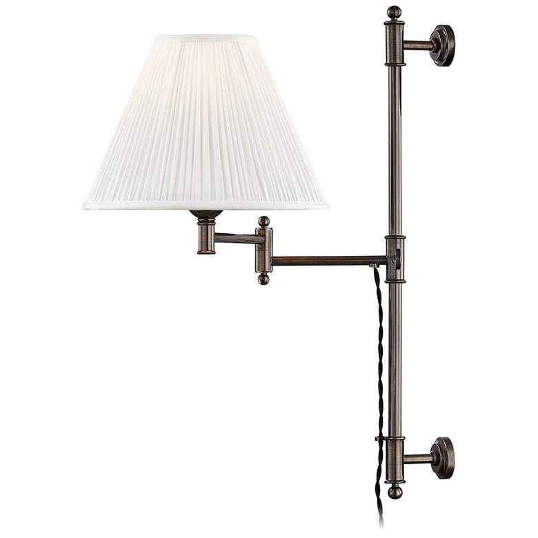 Classic No.1 Distressed Bronze Plug-In Swing Arm Wall Lamp