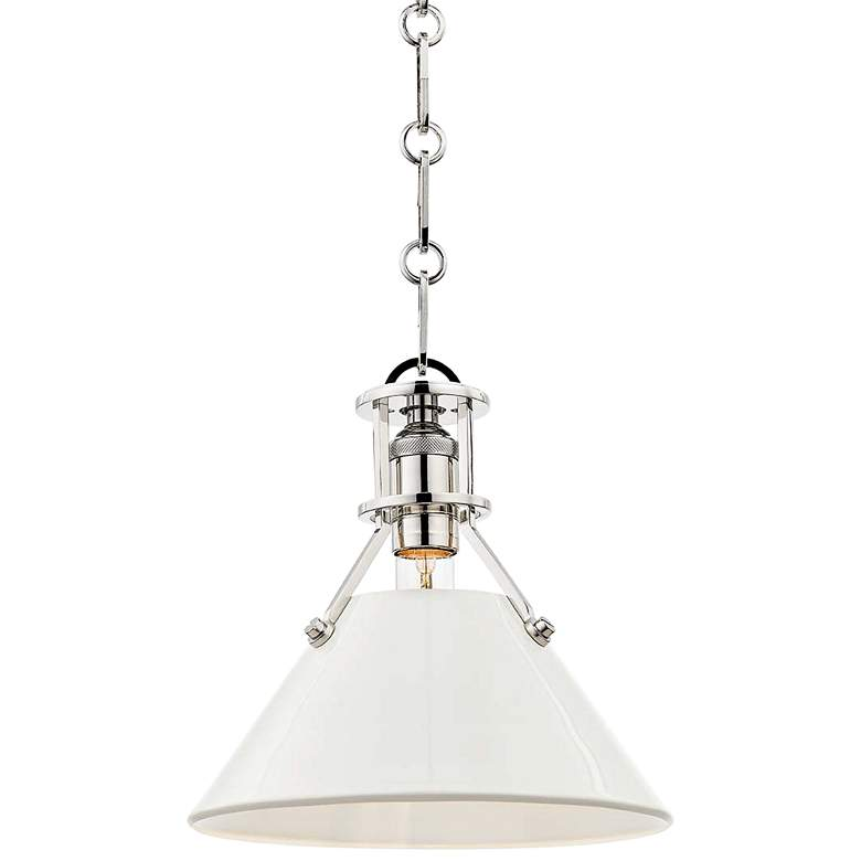 "Painted No.2 9 1/2""W Nickel Mini Pendant w/ Off-White Shade"