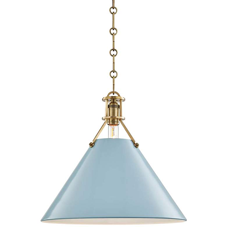 "Painted No.2 16""W Aged Brass Pendant with Blue Bird Shade"