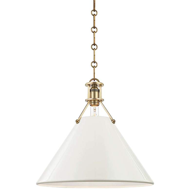 """Painted No.2 16""""W Aged Brass Pendant with Off-White Shade"""