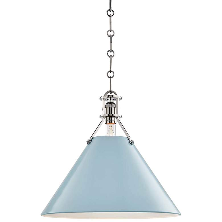 "Painted No.2 16""W Polished Nickel Pendant w/ Blue Bird Shade"