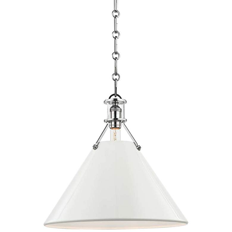 """Painted No.2 16""""W Polished Nickel Pendant w/ Off-White Shade"""