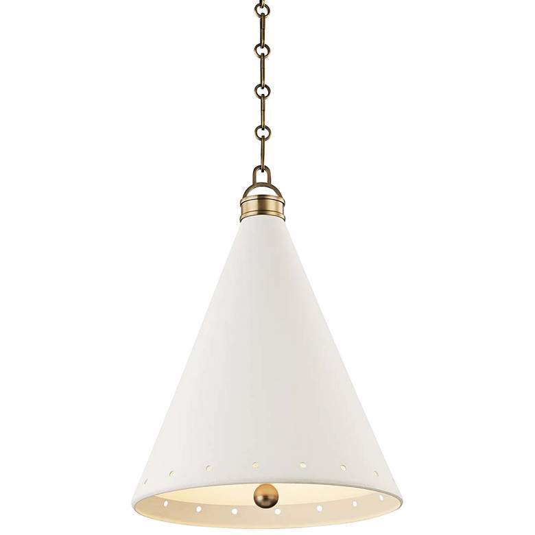"Plaster No.1 15"" Wide Aged Brass Pendant Light"
