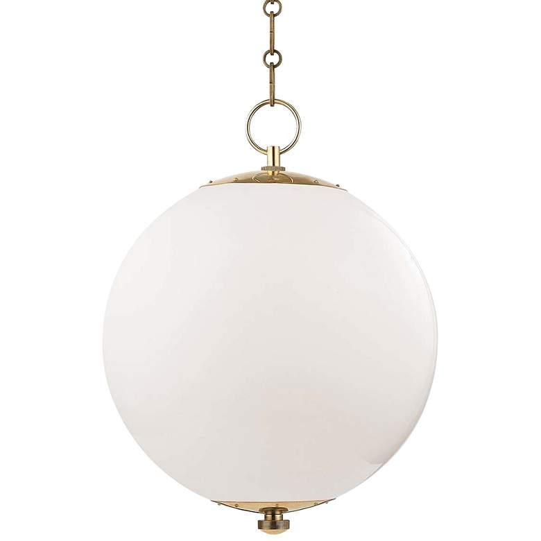 "Sphere No.1 16"" Wide Aged Brass Pendant Light"