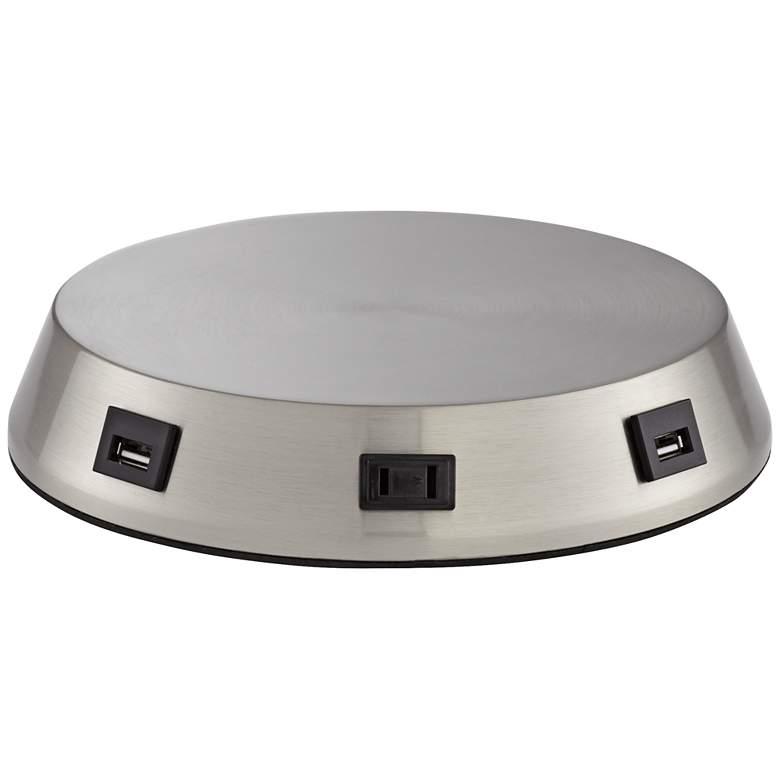 Charging USB-Outlet Touch Sensor Nickel Workstation Base