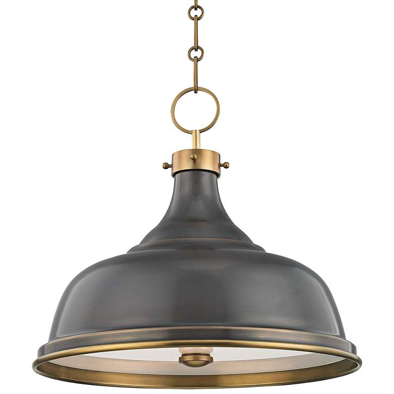 "Metal No.1 18"" Wide Antique Distressed Bronze Pendant Light"
