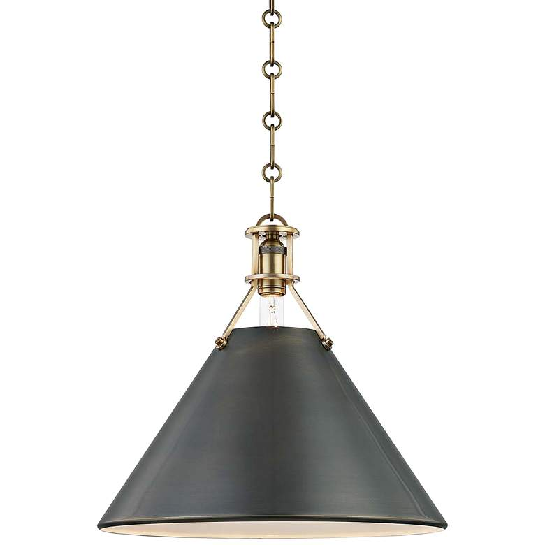 "Metal No.2 16"" Wide Antique Distressed Bronze Pendant Light"