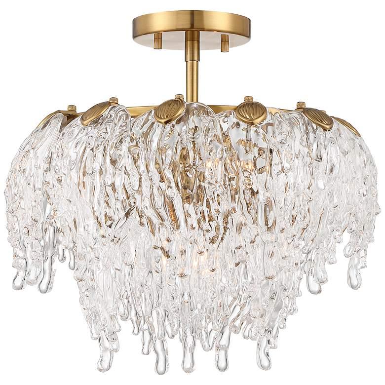 "Zavala 14 1/4"" Wide Brass and Glass Ceiling Light"
