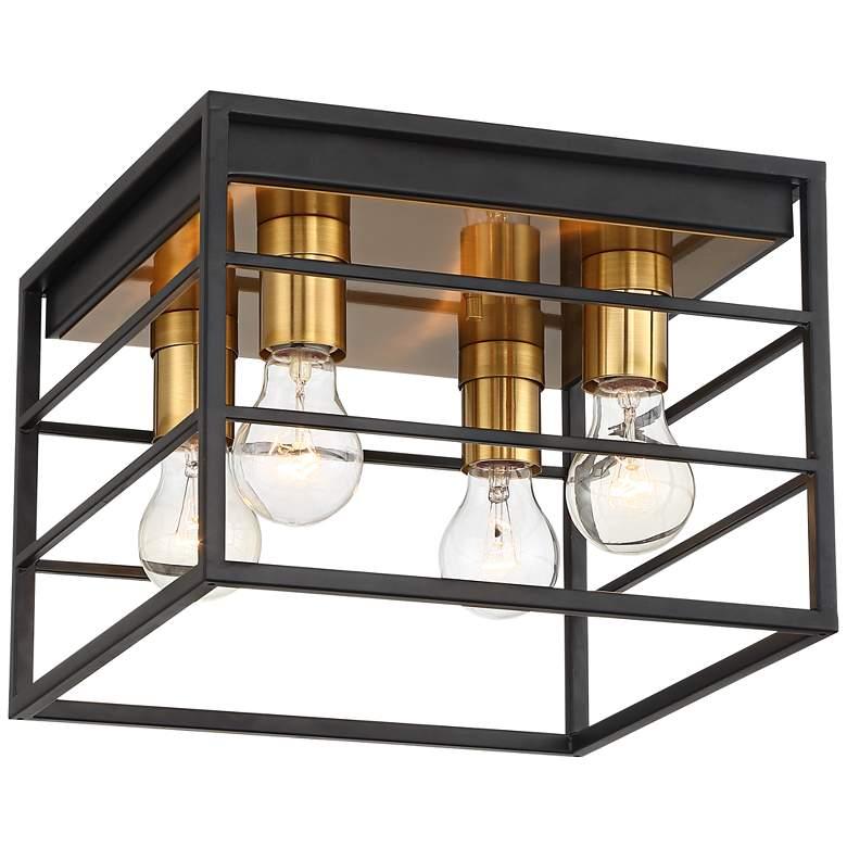 "Logan 11 3/4"" Wide Black and Brass 4-Light Ceiling Light"