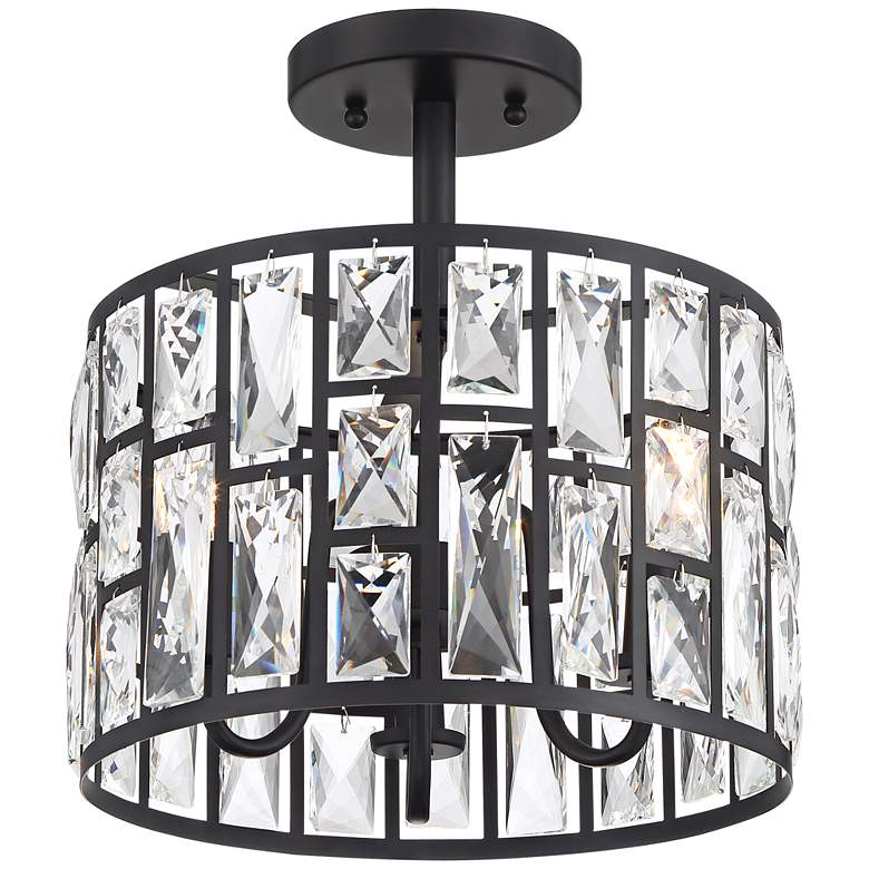"""Sofie 11 3/4"""" Wide Black and Crystal Ceiling Light"""