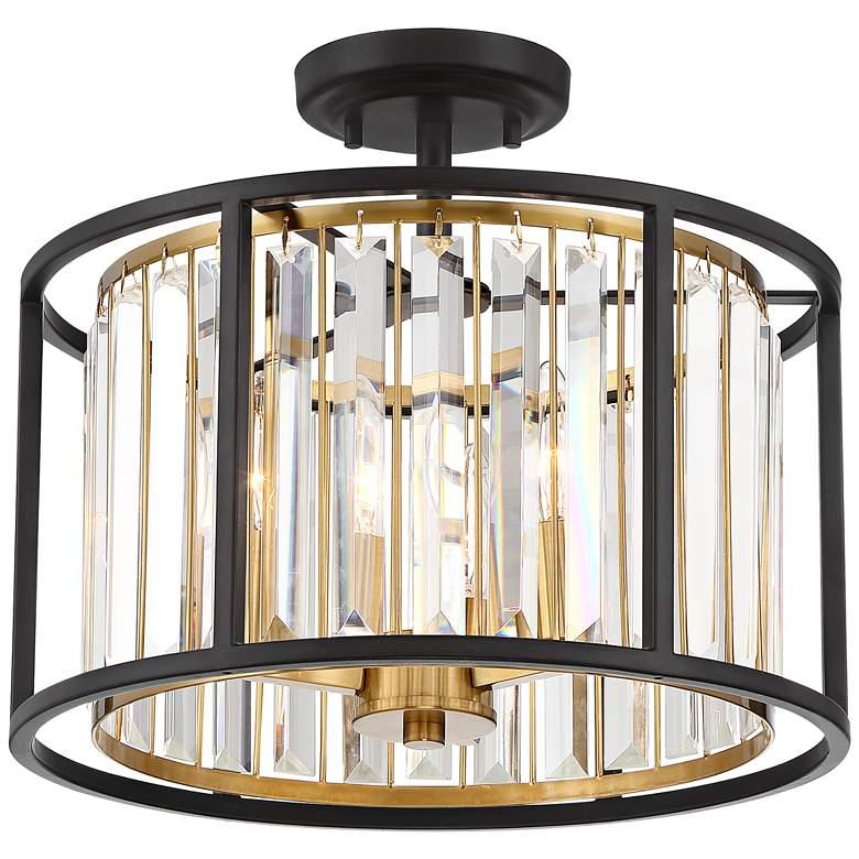 "Possini Euro Milne 14"" Wide Bronze and Brass Ceiling Light"