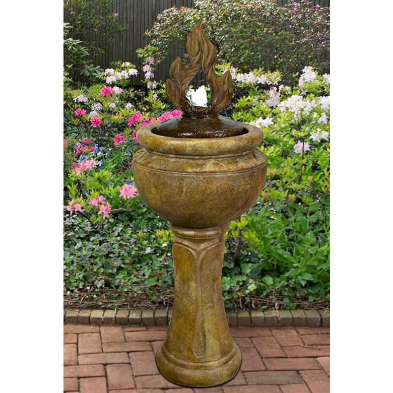 "Fiery Flame 45 1/2"" Relic Lava LED Bubbler Outdoor Fountain"