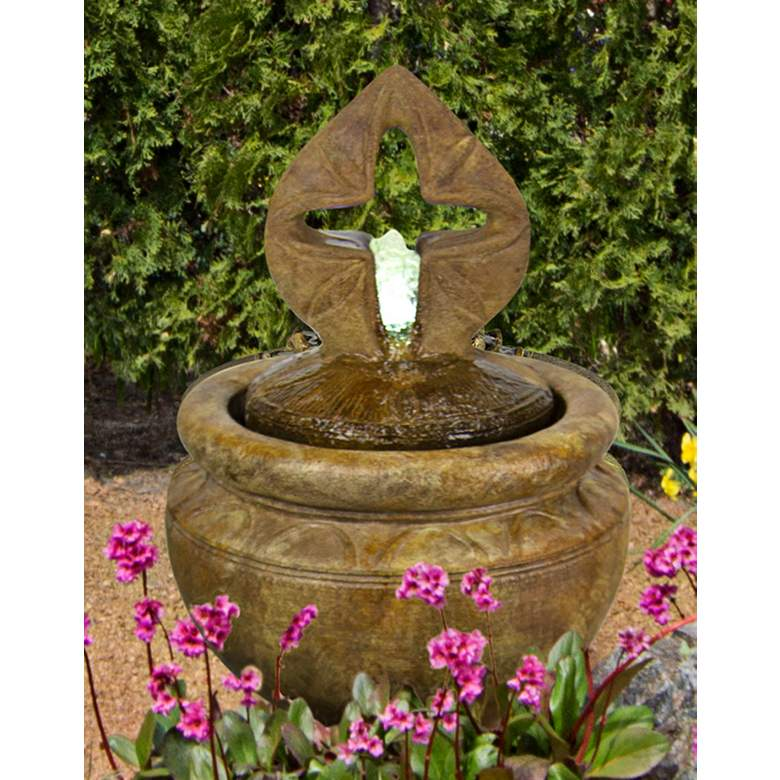 "Antique Cross 25"" High Bubbler Fountain with Light"
