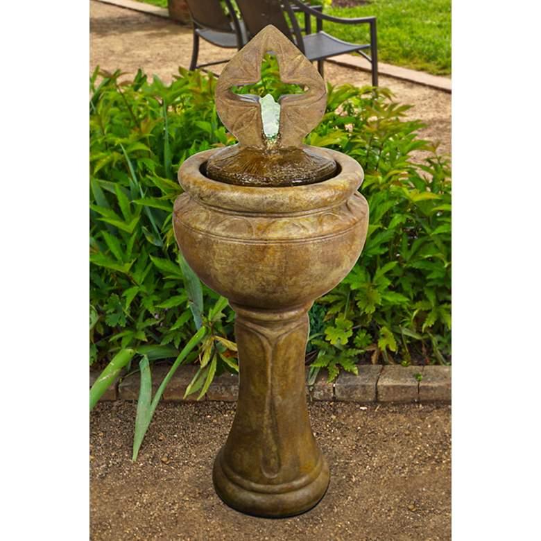 "Antique Cross 45"" High Bubbler Fountain with Light"