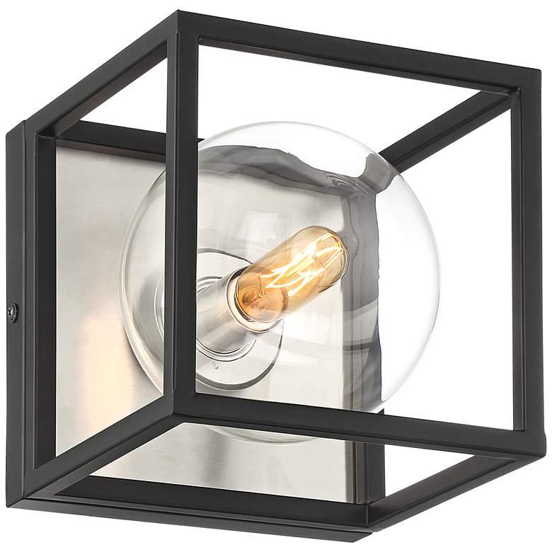 "Possini Euro Yara 6 1/2"" High Black Bubble Globe Sconce"