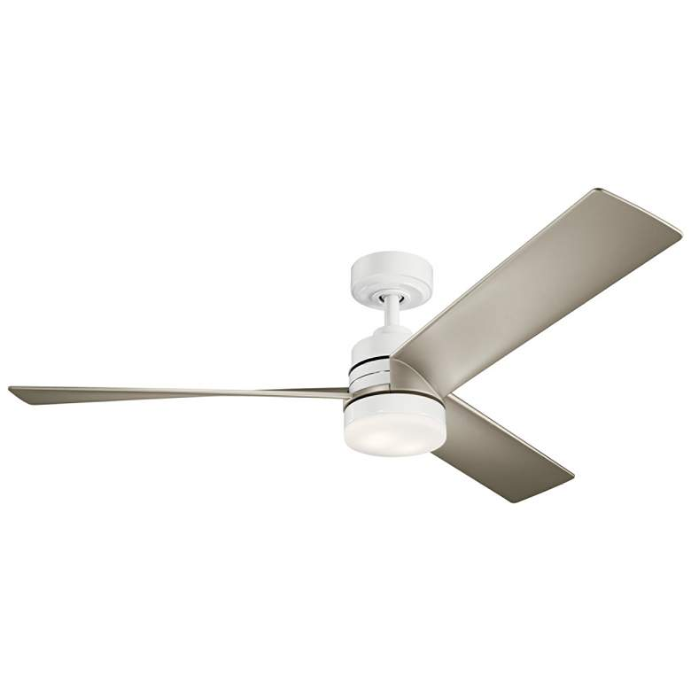 "52"" Kichler Spyn White and Silver LED Ceiling Fan"
