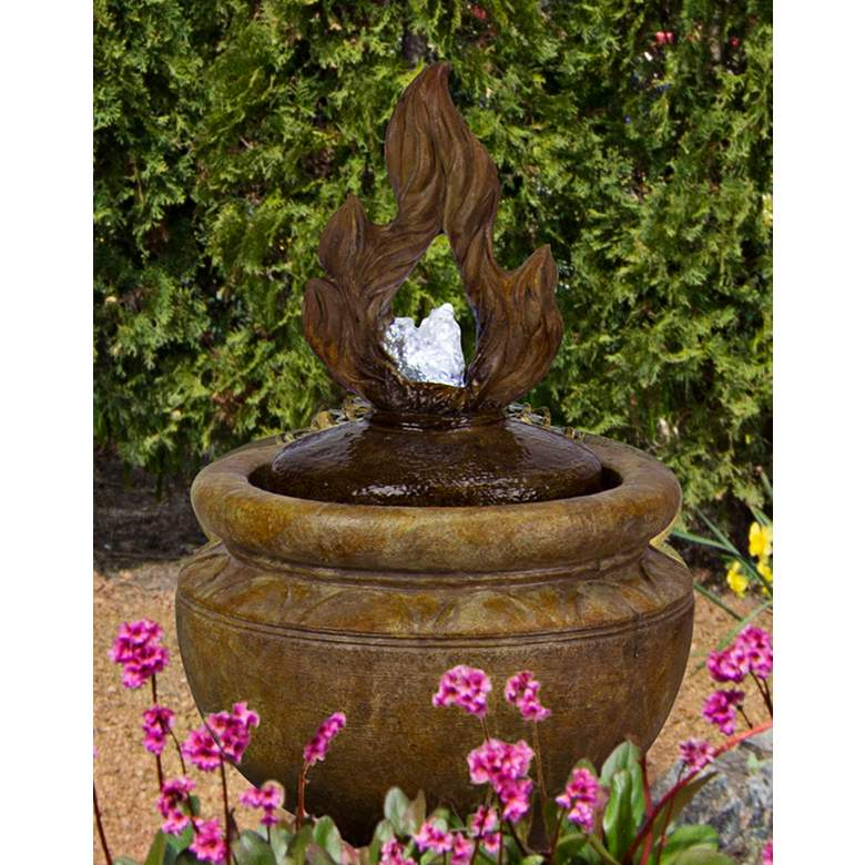 """Fiery Flame 25""""H Relic Lava LED Bubbler Outdoor Fountain"""