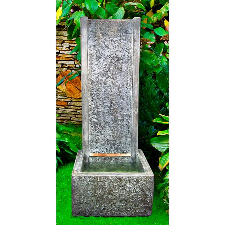 """Slate 61""""H Relic Frosted Mocha LED Outdoor Wall Fountain"""
