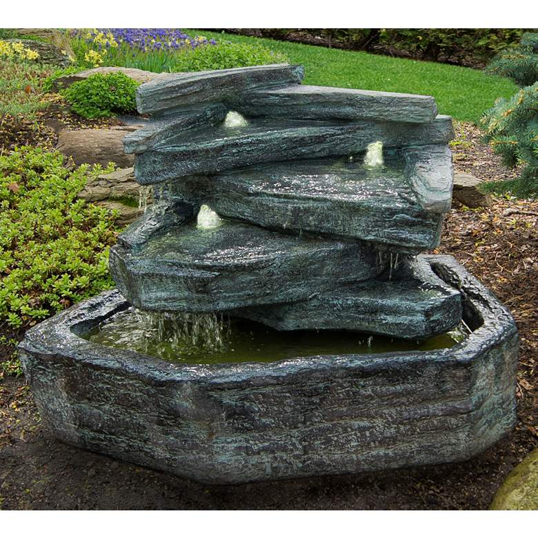 """Slate Springs 24"""" High Waterfall Bubbler Fountain with Light"""