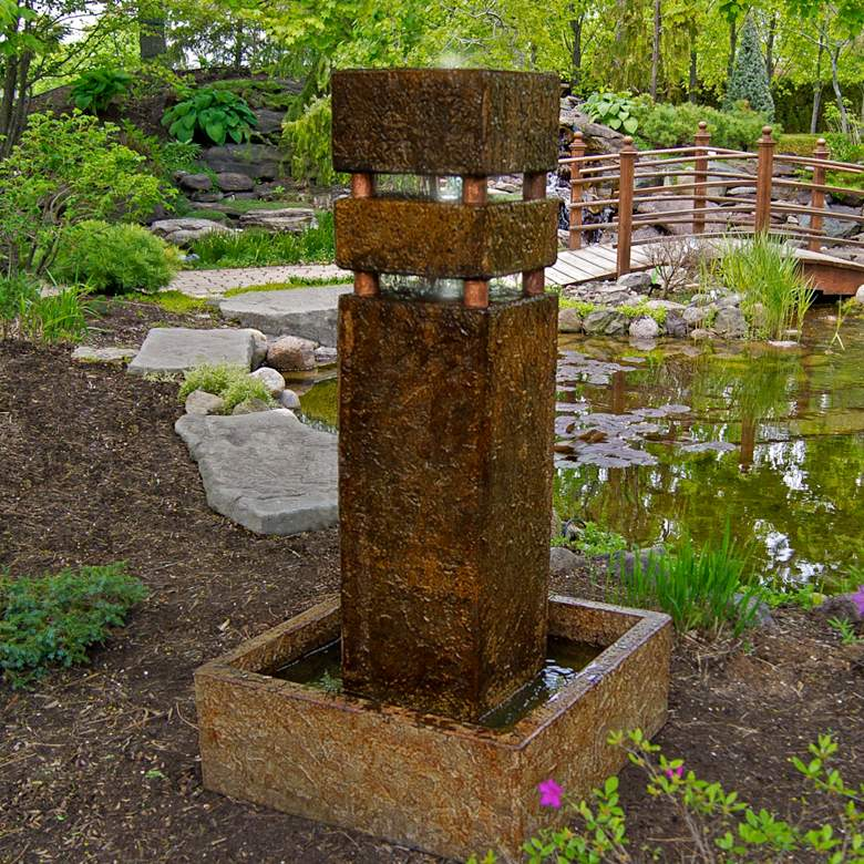 """Monolith 53"""" Modern Outdoor Bubbler Fountain with Light"""