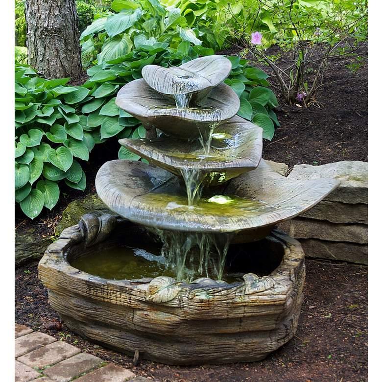 "Giant Leaf 35"" High Relic Hi-Tone LED Outdoor Floor Fountain"