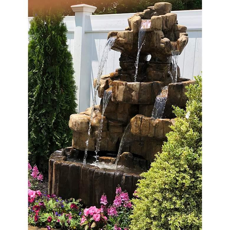 "Henri Studio Rock Falls 58"" High Relic Lava Outdoor Fountain"