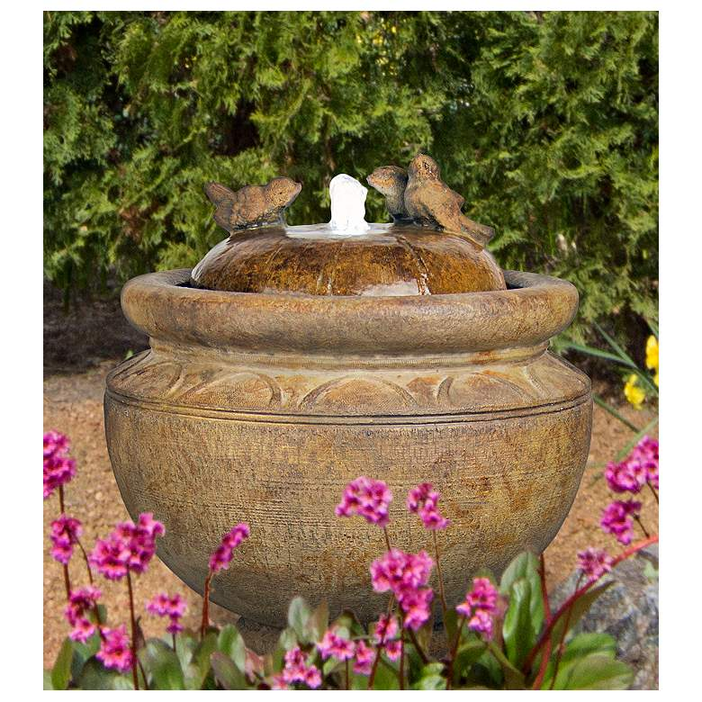 "New Birds 19"" High Relic Lava LED Patio Bubbler Fountain"