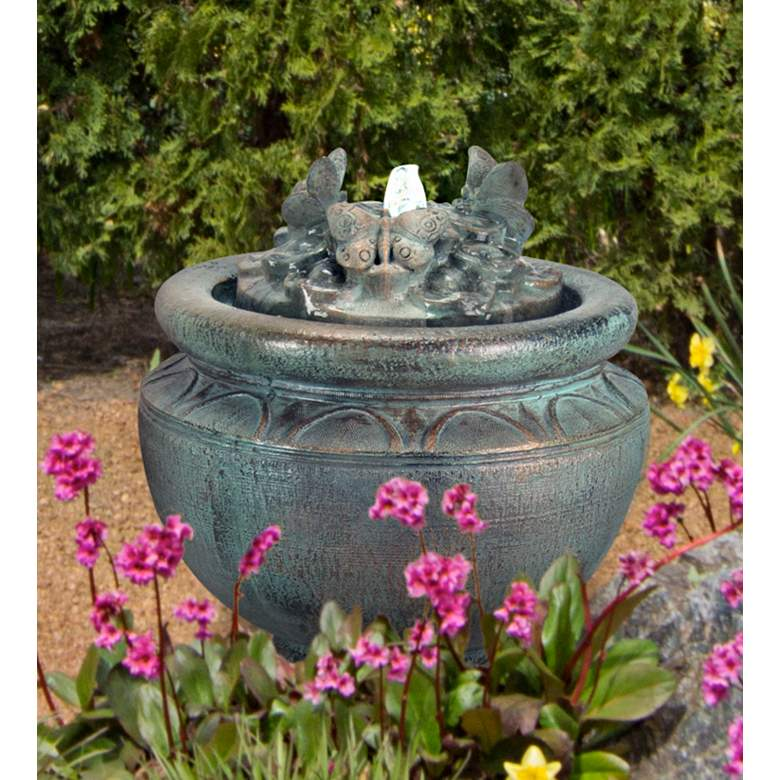 """Butterfly 16 1/2"""" Bronze Patio Bubbler Fountain with Light"""