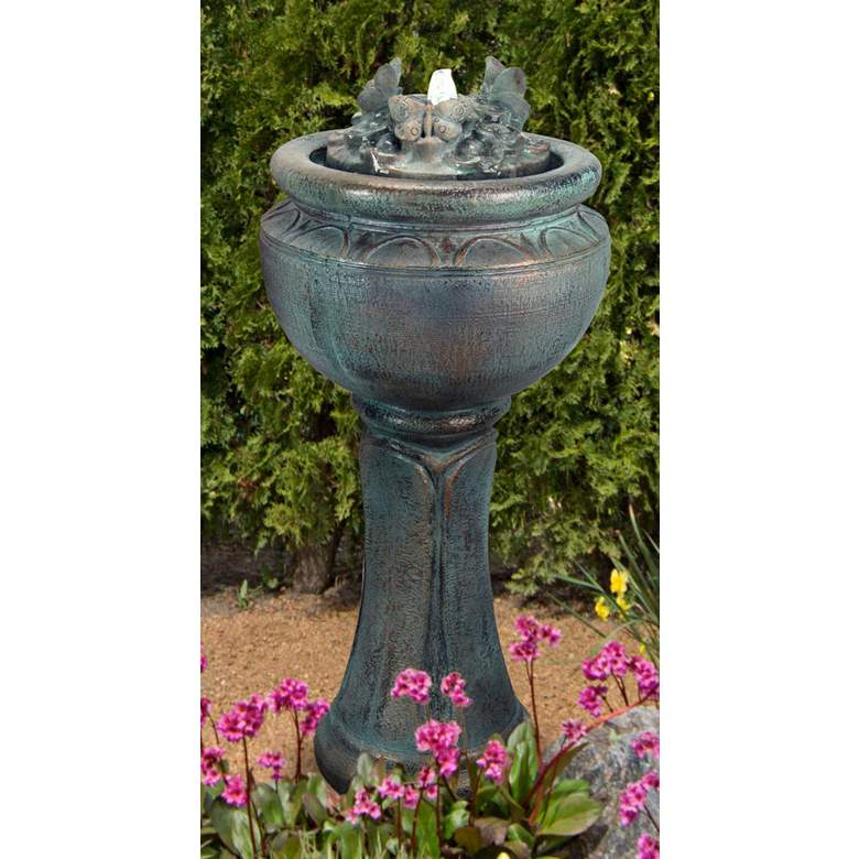 """Butterfly 36"""" High Bronze Patina Bubbler Fountain with"""