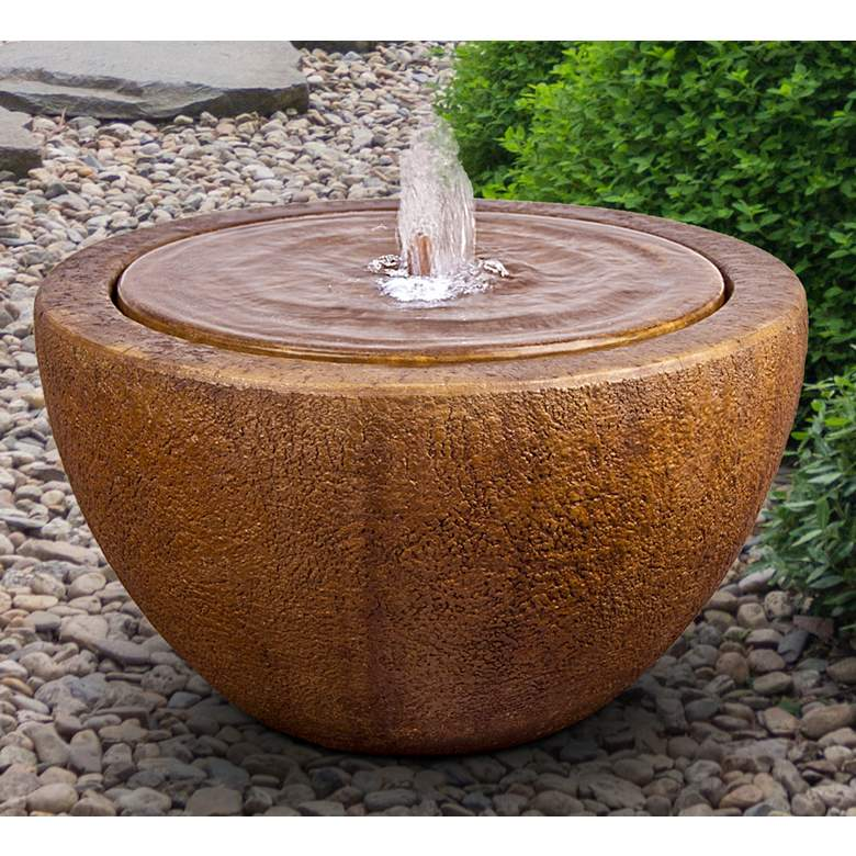 "Tranquility 14"" Modern Outdoor Bubbler Fountain with Light"