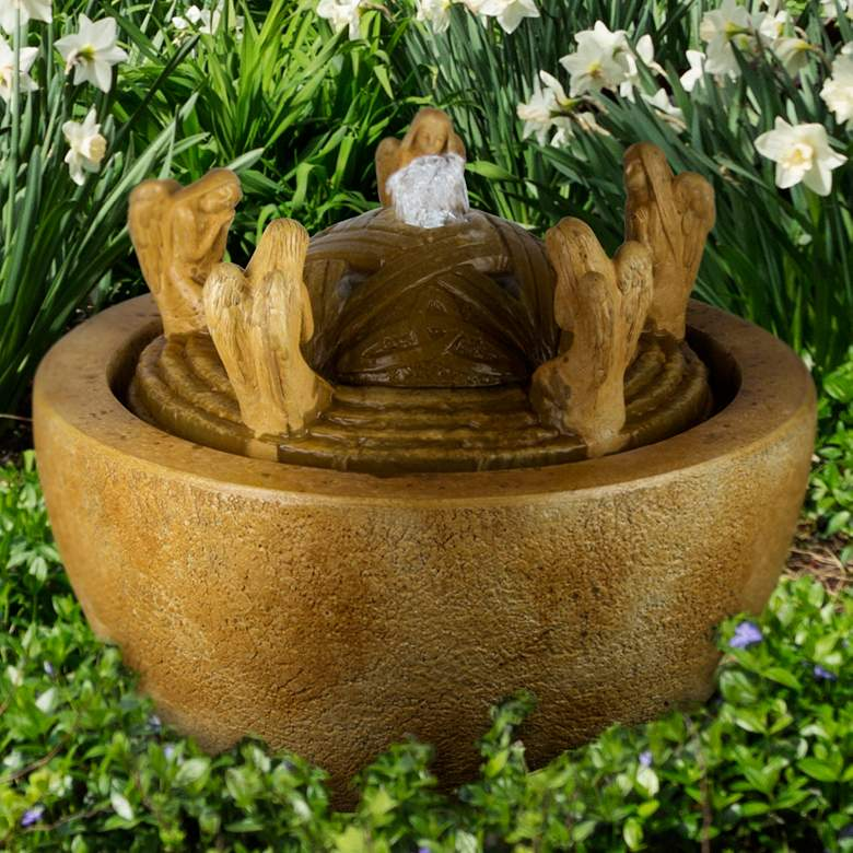 "Living Waters 17 1/2"" Stone Angels Patio Bubbler Fountain"