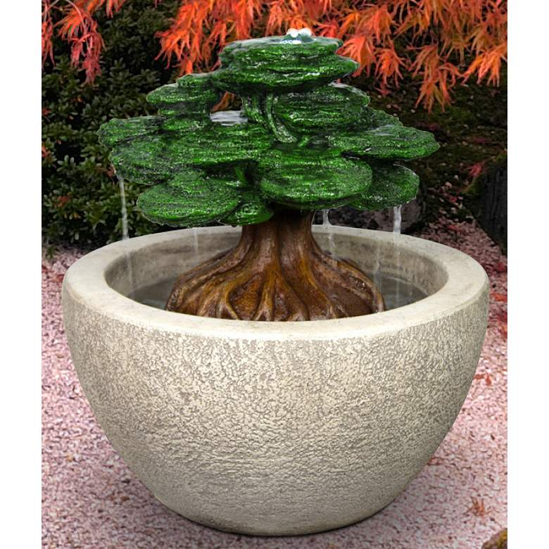 "Henri Studio Bonsai 24""H Relic Hi-Tone LED Outdoor Fountain"