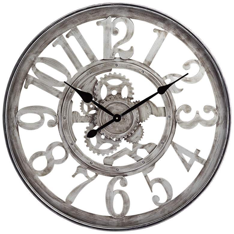 "Edith Silver and Black 31 1/2"" Round Metal Wall Clock"