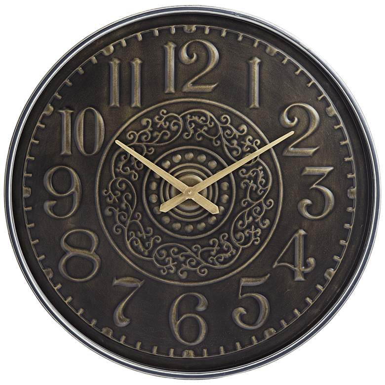 """Gold Scroll 31 1/2"""" Round Hand-Made Wall Clock"""