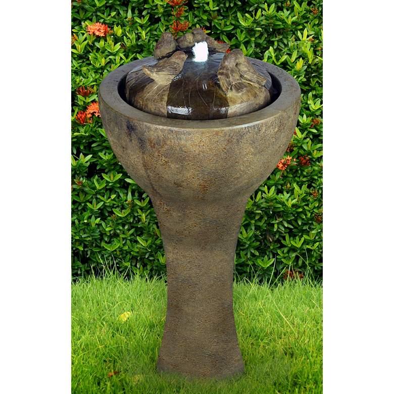 "Gathering Birds 42""H Relic Lava LED Bubbler Outdoor Fountain"