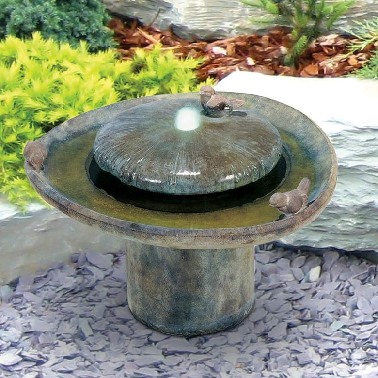 """Birds of a Feather 18""""H Relic Hi-Tone LED Outdoor Fountain"""