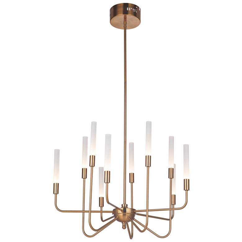 "Craftmade Valdi 26 1/2""W Satin Brass 10-Light LED Chandelier"