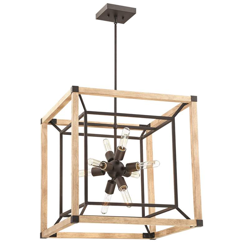"Tesseract 21 1/4"" Wide Black and Oak Wood 8-Light Chandelier"