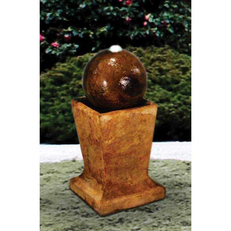 """Low Sphere 23"""" High Patio Bubbler Fountain with Light"""