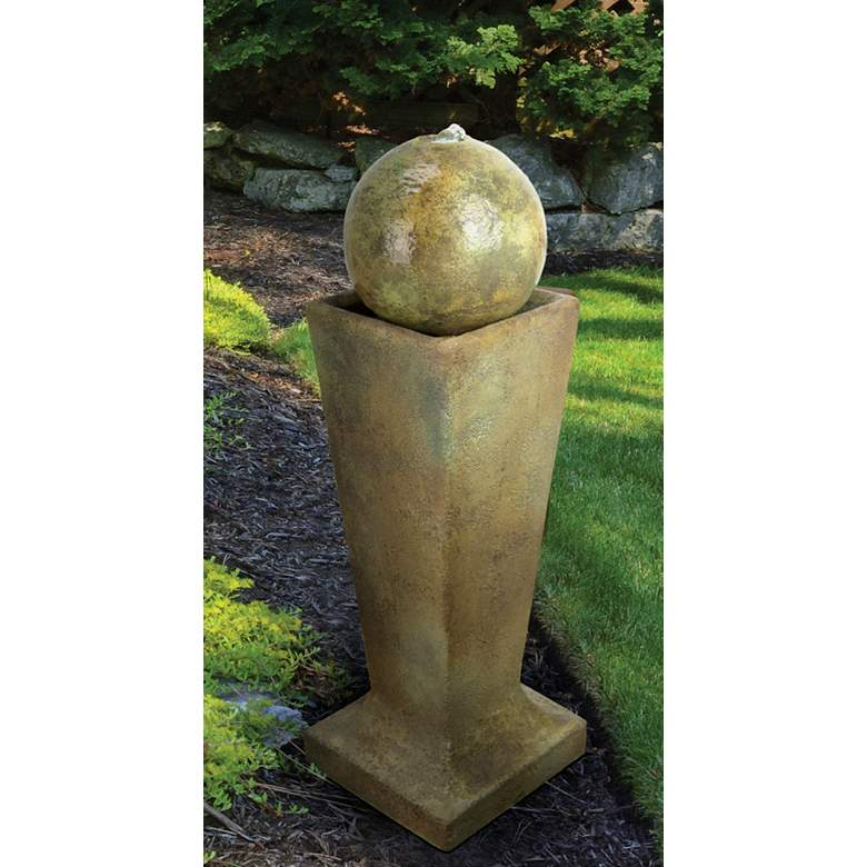 "Sphere on Tall Pedestal 36""H Relic Nebbia LED Floor Fountain"