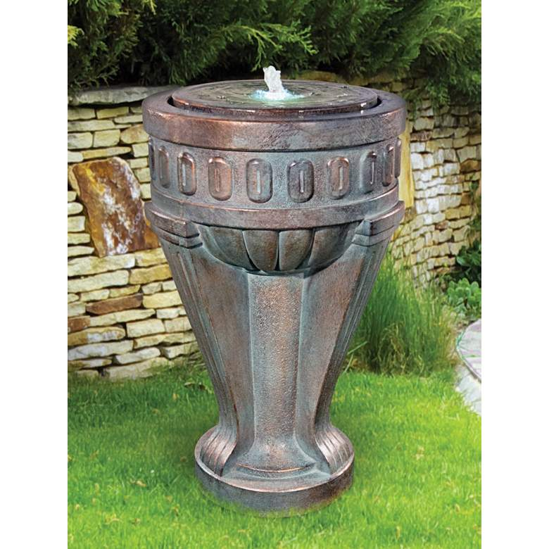 """Tall Chalice 35 1/2"""" High Bronze Patina LED Outdoor Fountain"""