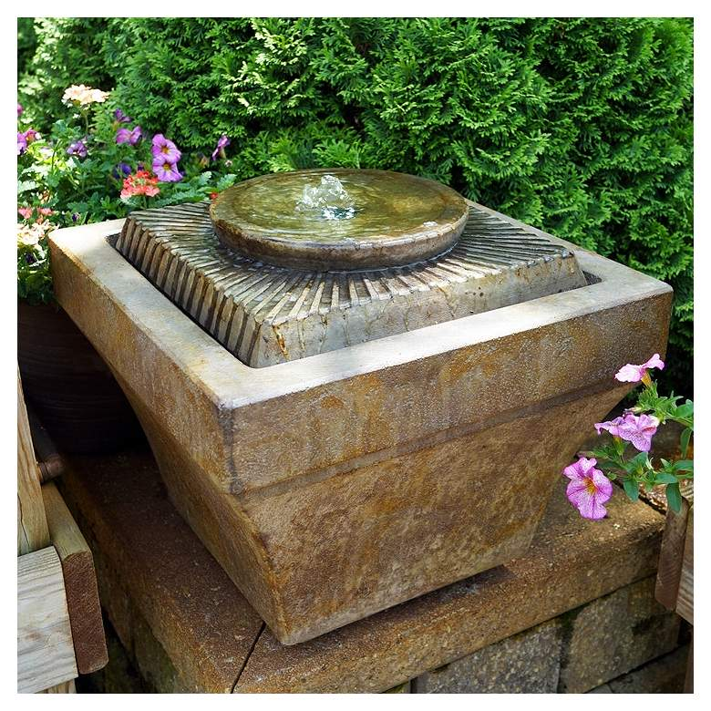 "Sunburst 13"" High Bubbler Outdoor Fountain with Light"